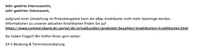 commerzbank ebay kreditkarte eingestellt